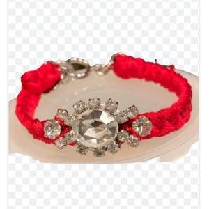 Juicy Couture Red Macrame Rhinestone Bracelet.